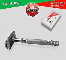 4FIT LONG HANDLE STAINLESS STEEL SAFETY RAZOR SILIVER FOR MANUAL SHAVING
