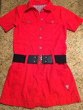 Guess Girls Red Button Down Dress Size M 10/12