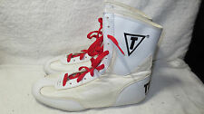 MEN'S TITLE BOXING WHITE FIGHTING RING MMA SHOES SZ 9 EUR 42.5 LOW TOP BOOTS