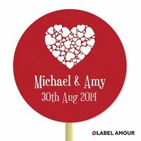 20 PERSONALISED Cup Cake Toppers | Wedding Hearts | Cupcake Decoration 004