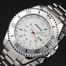 INFANTRY Mens Quartz Wrist Watch Military Dial Date Analog Sport Stainless Steel