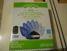 50 Counts Diamond Cut C7 LED Color Changing Christmas Lights, Cool White To Blue