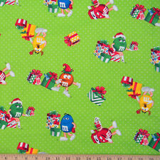 By 1/2 yard M&M's Christmas Holiday fabric Green White Polka Dots Present cotton