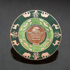 2T Copper: Green Courageous Lion Geocoin - Geocaching 50 MADE