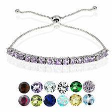 Glitzy Rocks Sterling Silver Birthstone Adjustable Bolo Bracelet