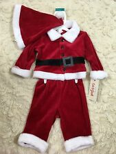 Infant Christmas Santa Outfit New Baby 0-3 Months Red Velvet Free Ship Cat Jack