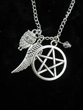 Silver Celtic Pentacle Owl Wing Necklace Gothic Wicca Pagan Pendant Fantasy