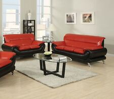 Living Room Stylish Color Black & Red 2pc Sofa Set Sofa & Loveseat Couch New
