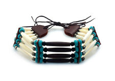 Handmade Native American Style 4 Row Buffalo Bone Hairpipe Choker Necklace