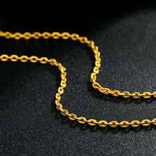"""Authentic 999 24K Yellow Gold Necklace 15.7""""L  PERFECT O Link Lucky Necklace"""