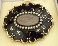Fabulous Antique Victorian Solid Gold & Enamel & Seed Pearl Mourning Brooch