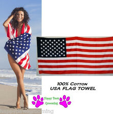 "US USA AMERICAN America Flag Banner Big 30x60""COTTON BATH POOL BEACH TOWEL WRAP"