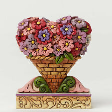 Jim Shore Miniature Valentine's Day Flower Heart Bouquet Figurine ~ 4051426