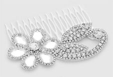Ladies/Girl's White Felt Back Crystal Rhinestone Swirl Flower Hair Comb (NWT)