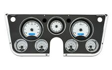 67-72 Chevy Truck C10 Dakota Digital Silver Alloy & Blue Analog Clock Gauge Kit