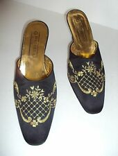 KURT GEIGER Vintage Black Satin Gold Embroidery Mules Heels Shoes Sz 38 - US 7