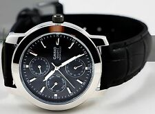 Casio Men's Black Leather Analog Dress Watch 3 Dials Watch MTP1192E-1A Brand New
