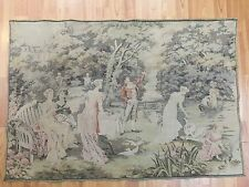 """2'4"""" x 3'5"""" French Tapestry - Parking Gathering - 1970s - Hand Made - 100% Wool"""