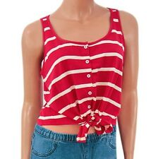 Ladies Red Striped Cropped Vest Top Size 12 Internacionale BNWOT