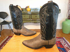 Vtg DAN POST Tall Sexy 2 Tone Blk/Gray Leather Western Cowboy Boots 9D USA