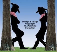 *NEW* Lawn Art Yard Shadow/Silhouette - Leaning Cowboy/Cowgirl Set