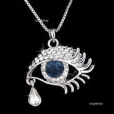 WHITE GOLD PLATED EVIL EYE TEAR PENDANT NECKLACE USE DIAMANTE SWAROVSKI CRYSTALS