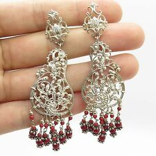 925 Sterling Silver Real Coral Gemstone Long Dangling Chandelier Earrings