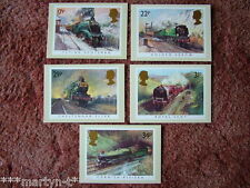 PHQ Stamp card set No 81 Famous Trains 1985. 5 card set.  Mint Condition.