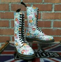Vintage Dr Martens 1914 White Meadow Flower print boots UK 4 Made in England