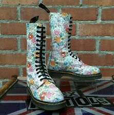 VINTAGE Dr Martens 1914 Bianco Meadow Stampa Floreale Stivali UK 4 Made in England