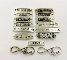 15PCS Mixed Vintage Words Alloy Connectors DIY Bracelet Charm Jewelry findings