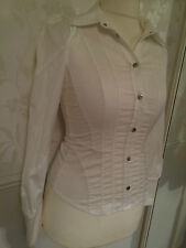 Karen Millen Gorgeous White Shirt Blouse Silver Poppers UK 10