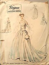 Vintage 50's VOGUE COUTURIER WEDDING DRESS / GOWN sewing pattern