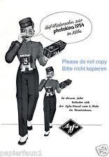 AGFA photokina publicitaires de 1954 caméra film chasseur page photo exposition ßß