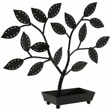 Jewelry Tree Organizer Hanger Necklaces Earrings Holder Black Tower Box