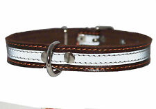 """Real Leather Reflective Dog Collar 16"""" Long 3/4"""" wide Fits 11""""-14"""" neck size"""