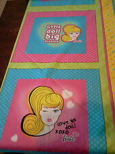 "6- 16"" x 16"" Mattel Barbie Doll Pillow Fabric Panels- 1 1/2 yards"