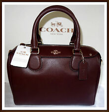 NWT NEW $295 Coach Leather Mini Bennett Hand Bag OXBLOOD BURGUNDY w/ RECEIPT