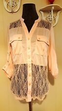JUSTIFY Womans Top LARGE Pink Lace Button Down Distressed Blouse
