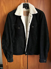 VTG Levis corduroy sherpa black trucker jacket sheepskin S small white tab