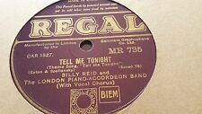 BILLY REID & LONDON PIANO ACCORDIAN BAND TELL ME TONIGHT & LISZT REGAL MR735