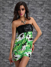 Size L/XL Sexy Ladie's Green Floral Sequin Club Party Tube Top Mini Dress! New