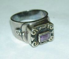 Vintage Sterling Silver Ornate Scroll High Table Amethyst Ring 10 g Size 7.5
