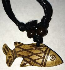 Carved Bone Fish Pendant Adjustable Necklace Free Shipping in the USA !