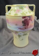 Noritake Nippon Porcelain Scenic Two-Handle Vase Antique Hand Painted