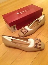 NEW Salvatore Ferragamo Women US 7 C Selia Nude Leather Ballet Flat Shoes NWB