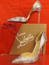 NIB LOUBOUTIN IRIZA 100 GLITTER MULTI LIGHT GOLD SOLARIA 1/2 D'ORSAY PUMPS 39.5