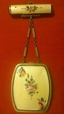 Lovely Yellow Antique GUILLOCHE Enamel Handpainted  TANGO (COMPACT & LIPSTICK)