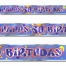 12ft Blue Happy 60th Birthday Party Foil Banner Decoration