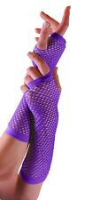Ladies Long Fishnet Gloves, Fingerless Gloves, Party Gloves, Neon Fishnet Gloves